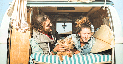 Couple in a Van with a Yorkie