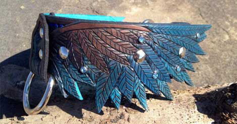 leather wing dog collar
