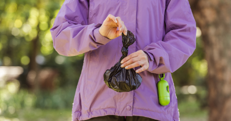 woman holding dog poop bag