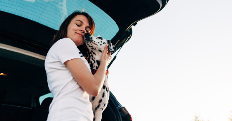 woman in car with dalmatian